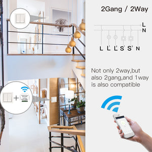 2 Gang DIY WiFi Smart 2 Way Light LED Dimmer Module Switch Smart Life/Tuya APP Remote Control Work with Alexa Google Home-home-betahavit-betahavit