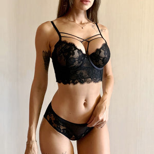 New Top Sexy Underwear Set Green Bras Cotton Brassiere Women Lingerie Set Lace Embroidery Push up Bra Panties Sets Deep V Gather-home-betahavit-Black-75C-betahavit