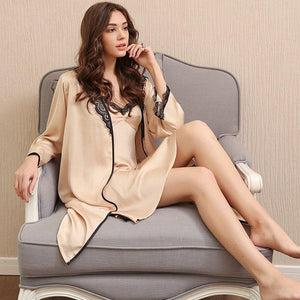 2 Pieces Faux Silk Women Robe Set Hot Spring Sexy Lace Nightgowns Women Sleepwear Dress Woman Pajamas Bathrobe-home-betahavit-betahavit