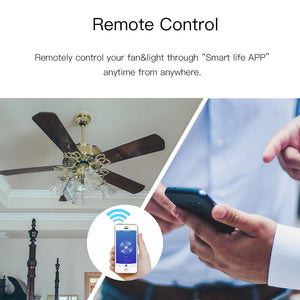 WiFi Smart Ceiling Fan Light Wall Switch,Smart Life/Tuya APP Remote Various Speed Control, Compatible with Alexa and Google Home-home-betahavit-betahavit