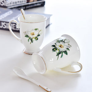 1/2/4PC 300ML Bone China Funny Coffee Mugs Porcelain Floral Painting Espresso Cups Vintage Countryside Drinkware Tea Cup-home-betahavit-betahavit