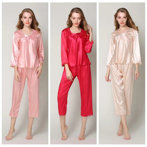 2 Pieces Ladies Fashion Faux Silk Autumn Payamas Suit Long Sleeved Trousers Nightclothes Female Homewear-home-betahavit-betahavit