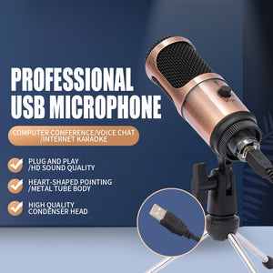 podcast microphone professionnel USB Condenser Recording studio equipment Cardioid Microphone with Stand For Laptop youtube mic-electronic-betahavit-betahavit