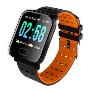 Android waterproof blood pressure Heart Rate Tracker sport Digital A6 smartwatch for ip67-outdoor-betahavit-Orange-betahavit