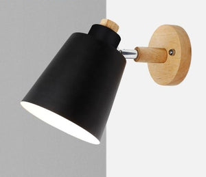 wooden wall lights bedside wall lamp wall sconce modern wall light for bedroom Nordic macaroon 6 color steering head E27 85-285V-home-betahavit-Black No Bulb-China-betahavit