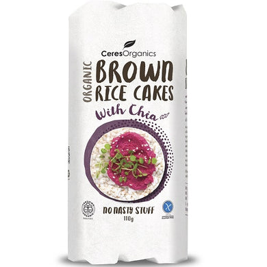 Ceres Organic Brown Rice Cakes Chia 110g