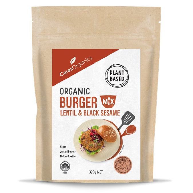 Ceres Organic Burger Mix, Lentil & Black Sesame 320g