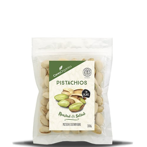 Ceres Organics Pistachios Roasted and Salted 100g