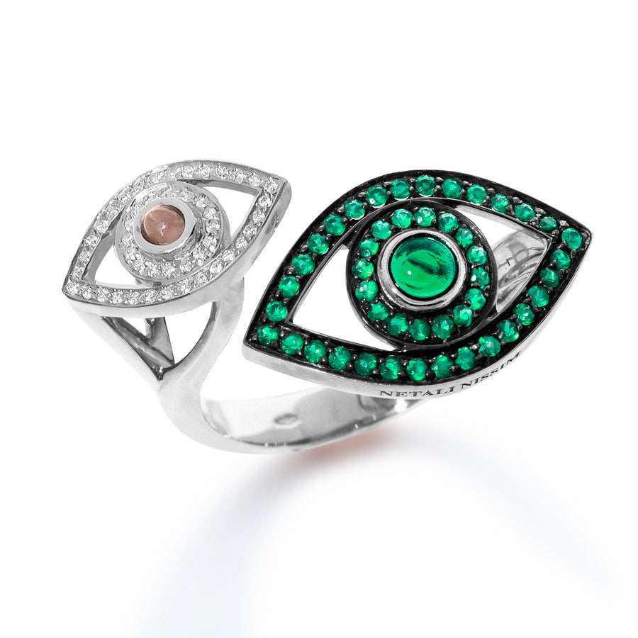 Double Eye Ring - Colored Stones