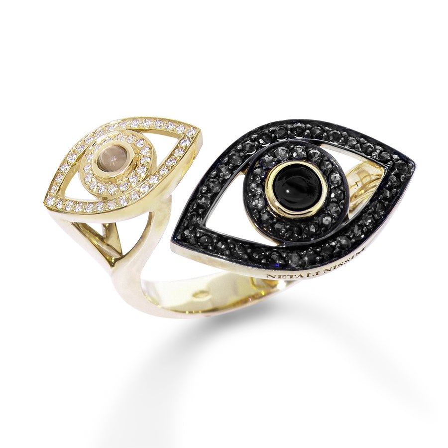 Double Eye Ring - Black Diamonds