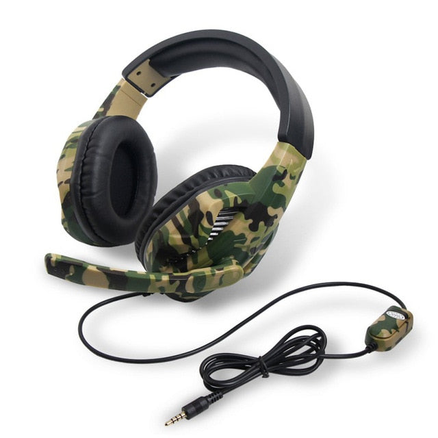 3.5MM Wired Camouflage Gaming Headphone with Mic