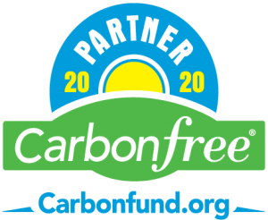 The words Carbon Free, 2020 Partner and Carbonfund.org in a circular shape on a green landscape background logo.