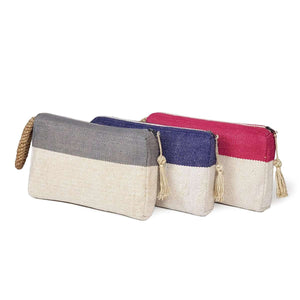 Block Blue Jute Clutch