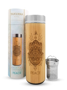 Peace Premium Insulated Bamboo Water Bottles 17.9oz