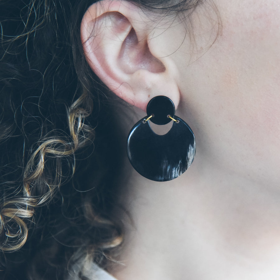 Addie Earrings in Black Up-Cycled Horn