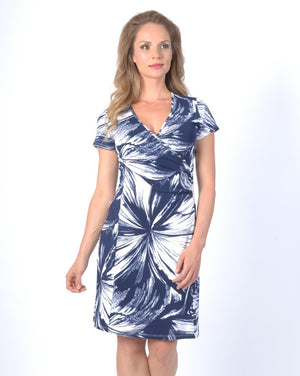 BLUE SWEEP Fauxwrap Dress