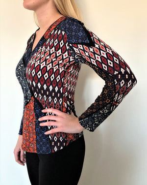 ZIP PATCHWORK PRINT top