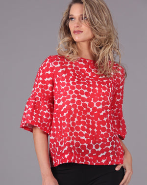 DITEFUL Top in Printed Cotton Silk