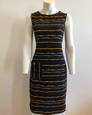PIQUE RAYURE Sleeveless Shift Dress