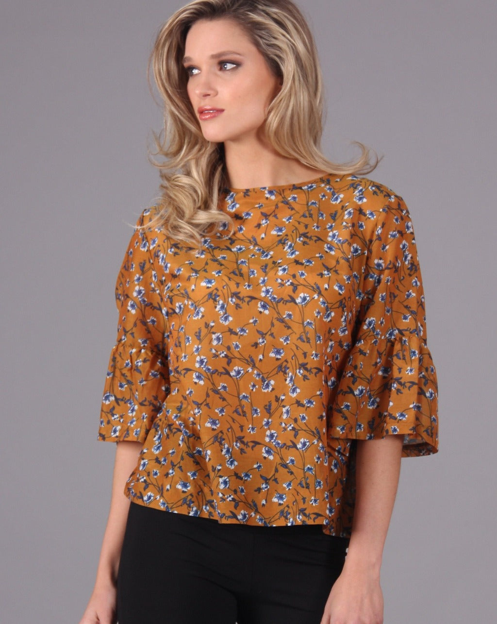 GRETA Top in Printed Cotton Silk