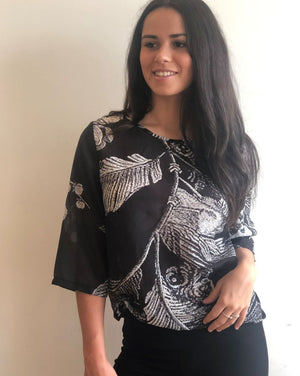 DIANA Top in Printed Cotton Silk