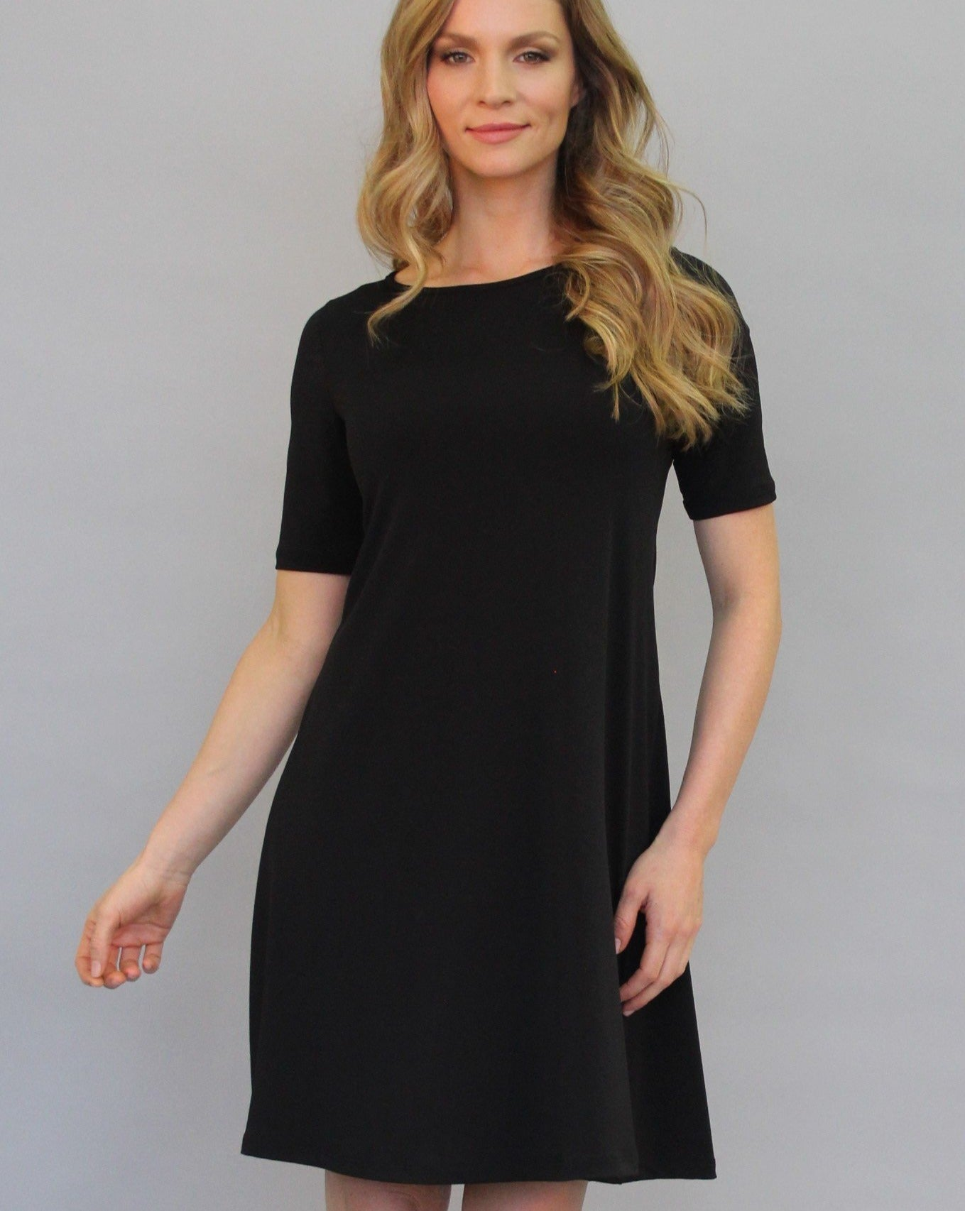 BASIC Aline Dress Elbow Sleeve