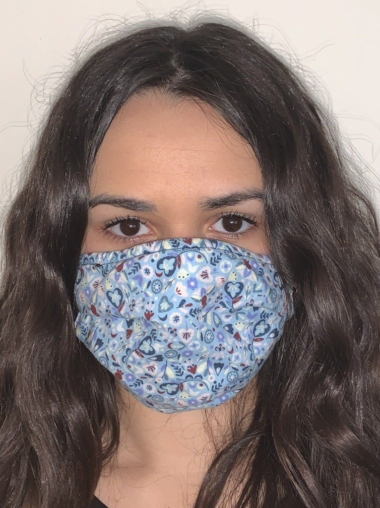 BOTANICAL BLUE Face Mask Reversible