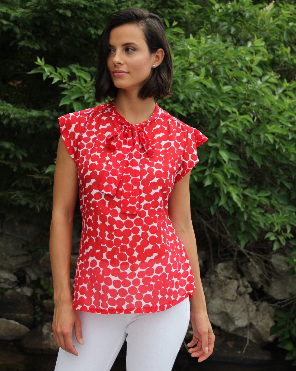 DITEFUL Cap Sleeve Top in Printed Cotton Silk