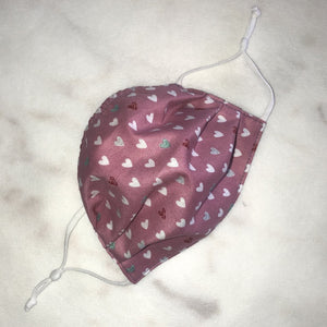 Kids - HEARTS  Face Mask Reversible