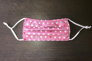 Kids - HEARTS  Face Mask Reversible - NEW