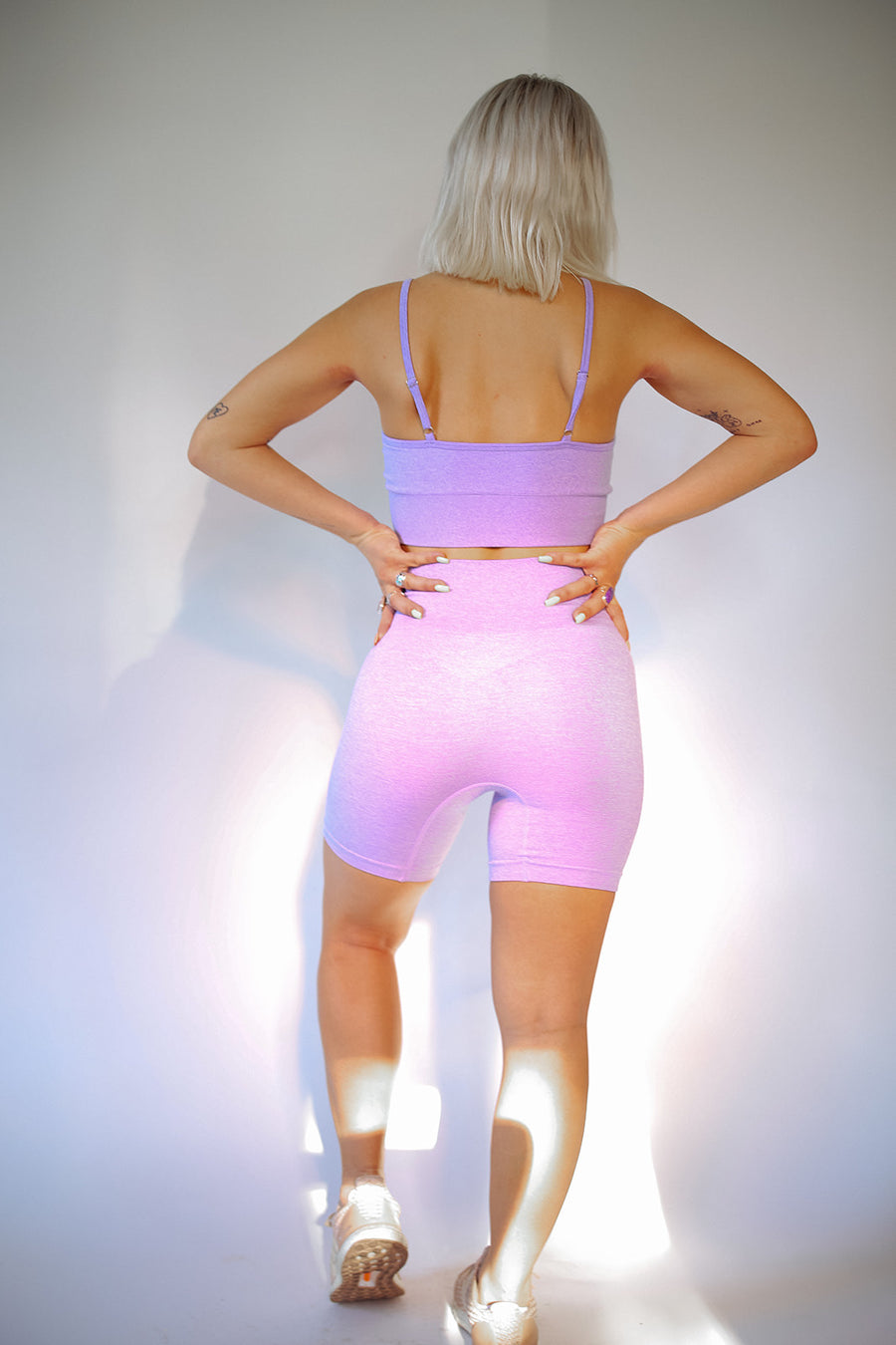 PURPLE WORKOUT BIKER SHORT