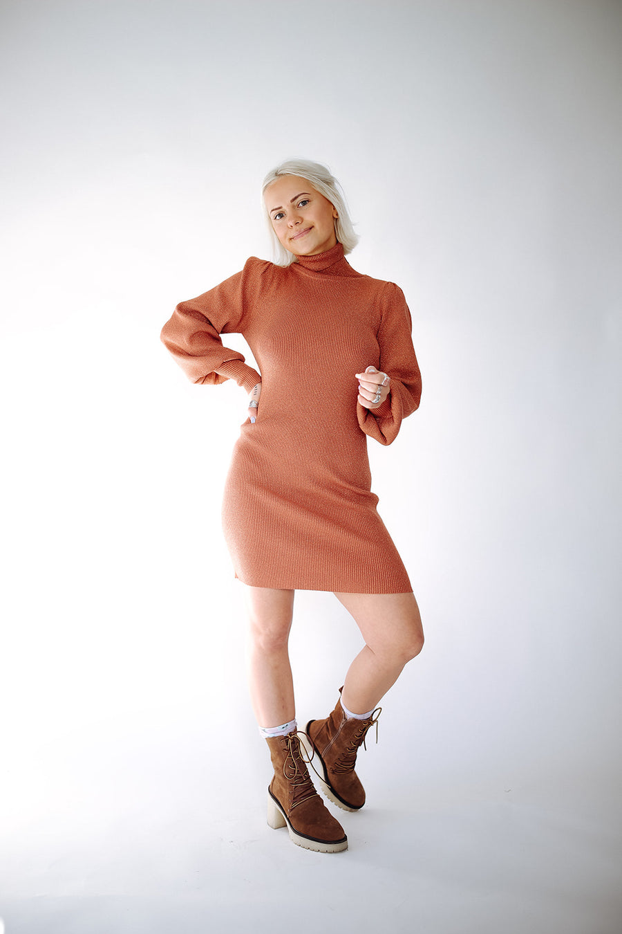 PUMPKIN SPICE LATTE SWEATER DRESS