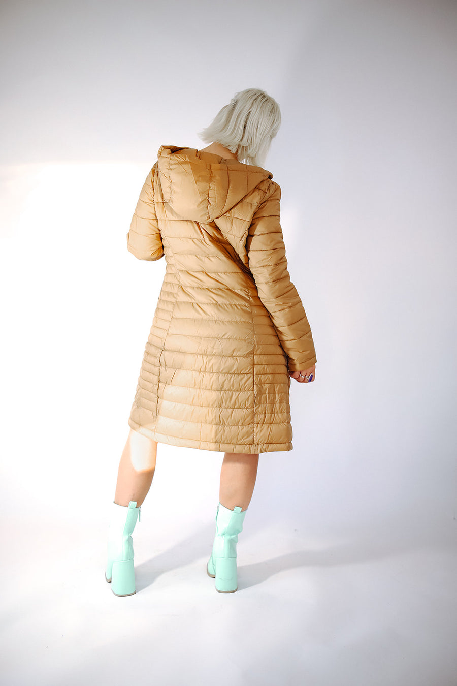 LONG PUFFER COAT IN TAN