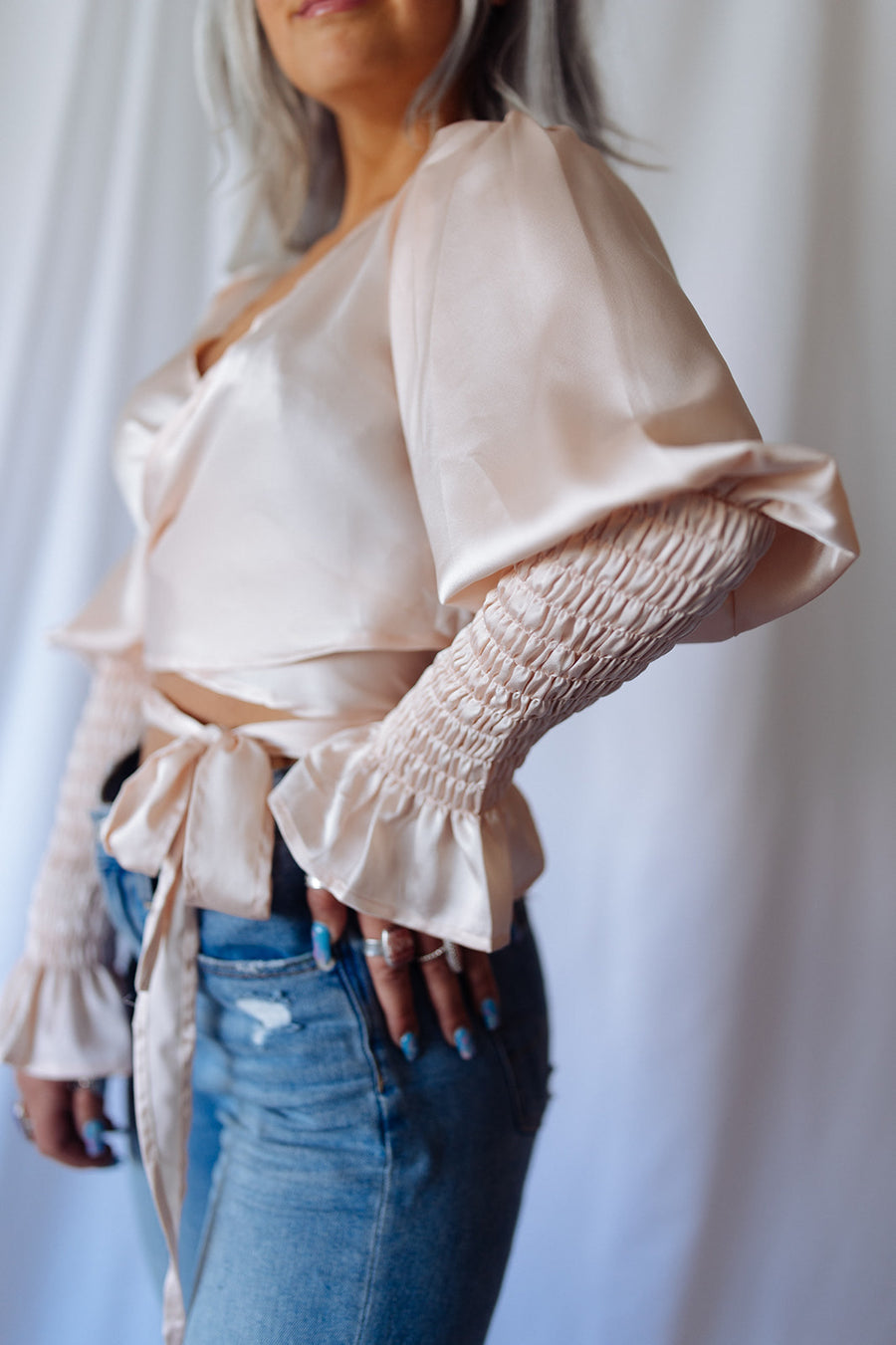 GIRLS NIGHT WRAP TOP