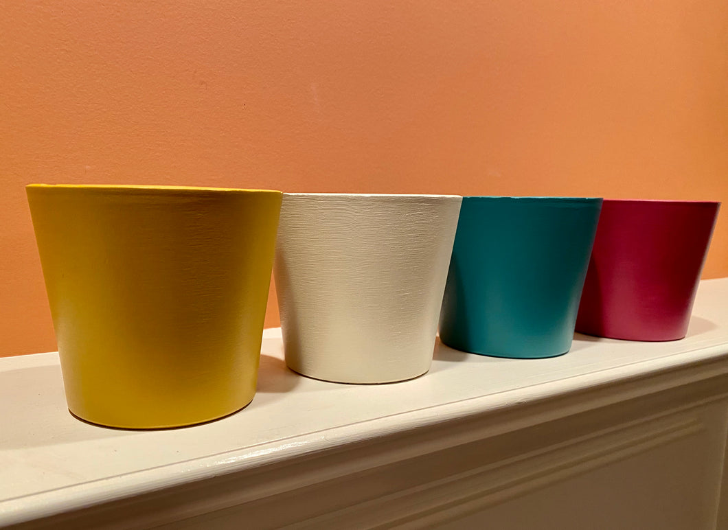 Painted Pots Set of 4 - Modern / Minimalist - Matte - Hand-Painted Terra-Cotta Clay Pots