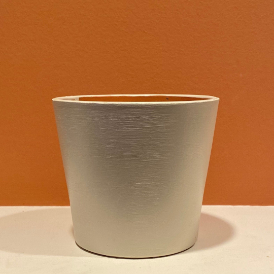 Modern / Minimalist - Matte - Hand-Painted Terra-Cotta Clay Pot - White Dove