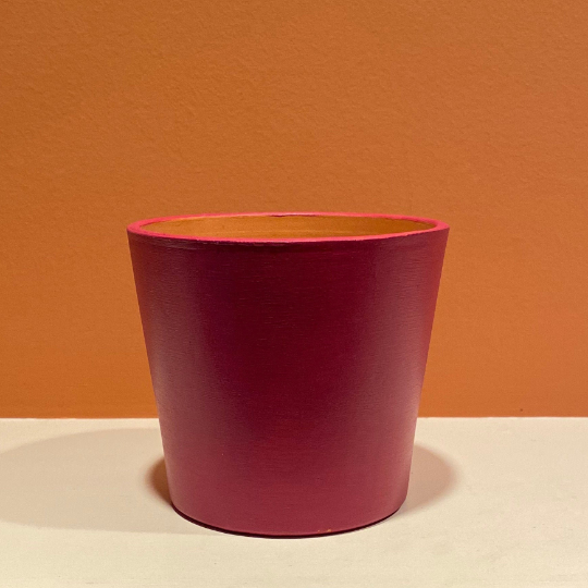Modern / Minimalist - Matte - Hand-Painted Terra-Cotta Clay Pot - Gypsy Berry