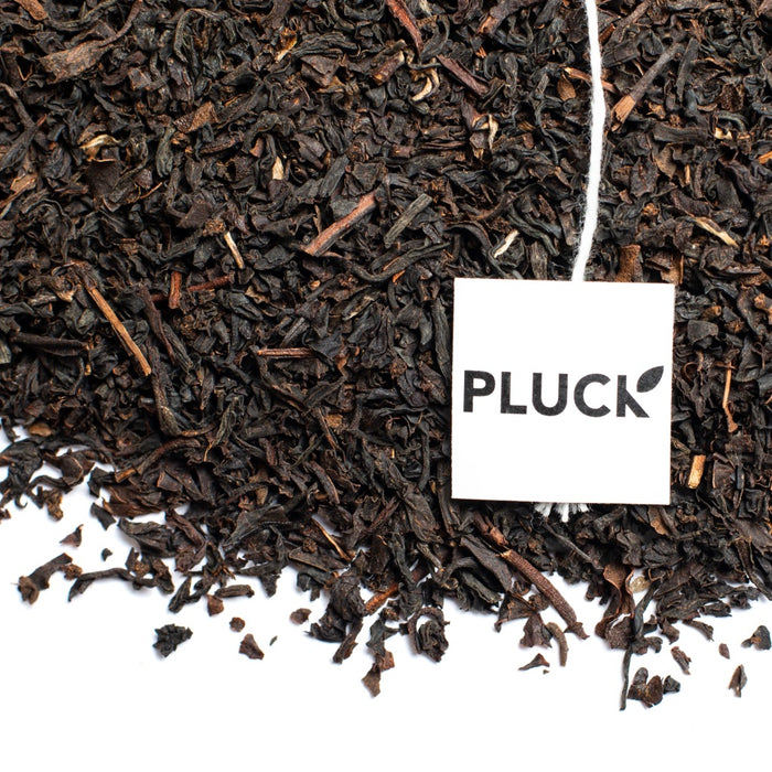 Loose leaf English Breakfast black tea with Pluck tea bag tag