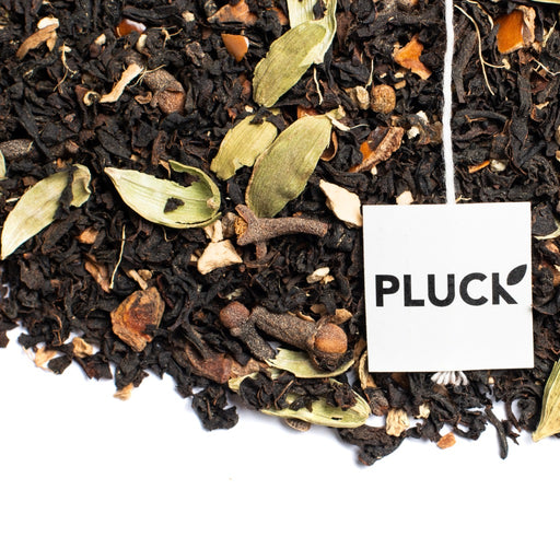 loose leaf Masala Chai black tea with Pluck tea bag tag