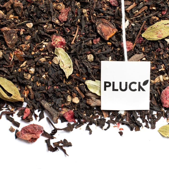 Loose leaf East Coast Chai black tea with Pluck tea bag tag
