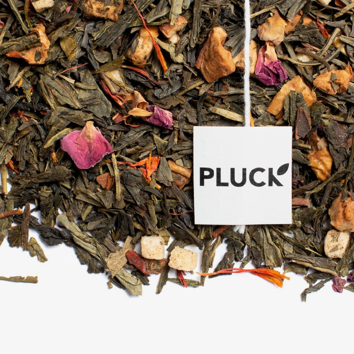 Loose leaf Apple on the Green green tea with Pluck tea bag tag