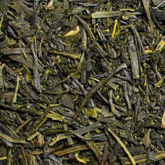 close up of loose leaf First Flush Sencha green tea