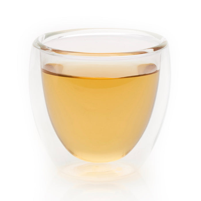 steeped Organic Chamomile herbal tea in glass cup