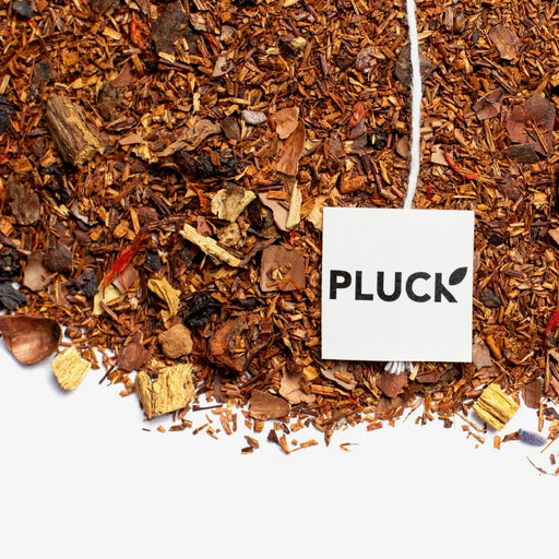 loose leaf Canadian Maple rooibos tea with Pluck tea bag tag