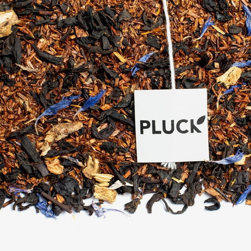 Loose leaf Canoe Lake black tea with Pluck tea bag tag