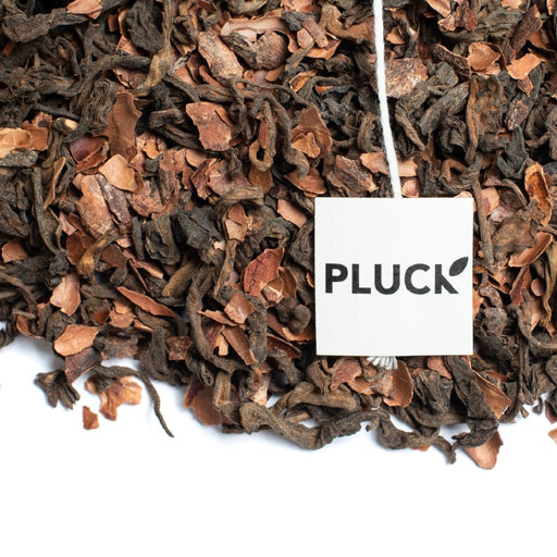 Loose leaf Chocolate Pu-erh black tea with Pluck tea bag tag