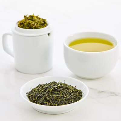 Tea tasting set with First Flush Sencha green tea