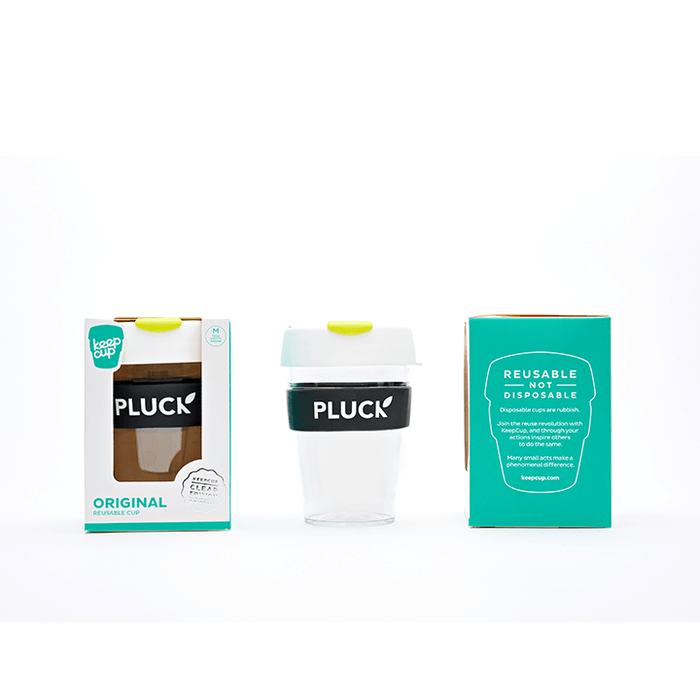 Pluck Keep Cup travel mug and packaging