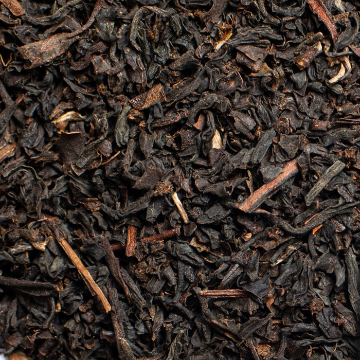 close up of loose leaf English Breakfast organic black tea