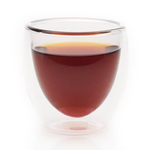 steeped Chocolate Pu-erh black tea in glass cup